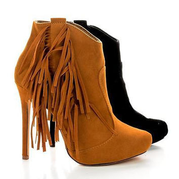 Tavi8 Tan By Liliana, Faux Suede Fringe Ankle Stiletto Booties