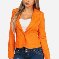 Bright Orange Long Sleeve One Button Closure Lightweight Blazer in TOPS