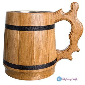 MyFancyCraft Wood Beer Mug 06L 20oz with Gift Box Stainless Steel Cup Men EcoFriendly Souvenir Handmade Retro Brown
