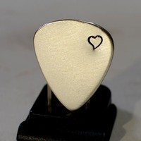 Guitar pick in sterling with loving heart