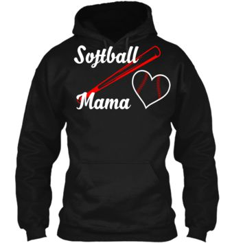 Softball Mama T-Shirt Women Mothers Day Gifts For Mom Shirt Pullover Hoodie 8 oz