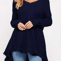 Navy Long Sleeve Cutout Shoulder V-Neck Sweater