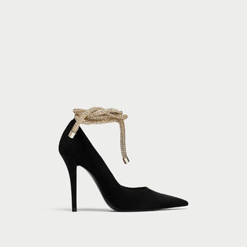 HIGH HEEL COURT SHOES WITH CORD DETAIL DETAILS
