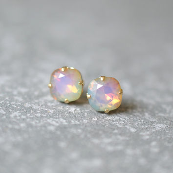 Opal Rainbow Earrings Swarovski Crystal Rare White Opal Pastel Square Stud Earrings Rounded Square Mashugana