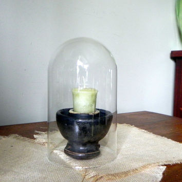 Vintage industrial candleholder - using glass cloche and ceramic insulator marked Thomas