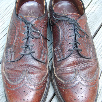 Vintage Johnston & Murphy 50s 60s Cordovan Leather Wingtips Longwings Brogues Oxfords Shoes Size 8 B