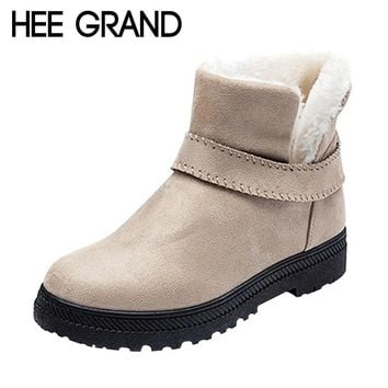 HEE GRAND 2017 Winter Ankle Boots Women Warm Solid Fashion Platform Snow Ankle Boots Shoes Woman Flat with 4 Colors XWX6343