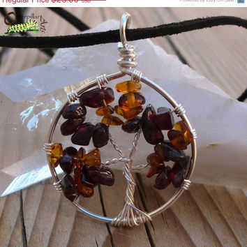 ON SALE Autumn Tree of Life Necklace Pendant - Wire Wrapped Tree of Life Jewelry - Baltic Amber and Garnet
