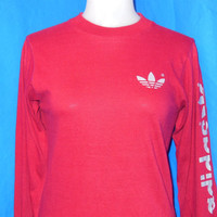80s Adidas Trefoil Maroon Long Sleeve t-shirt Small