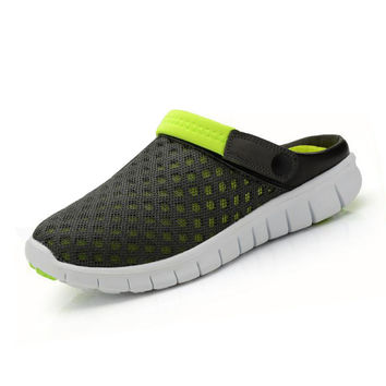 Summer New Slip-on flats Breathable Mesh Leisure Fashion Slippers Couples Casual Sandals, Unisex Green 41