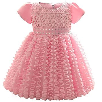 Newborn Baby Girl Wedding Little Dress Tutu First Birthday Party Dresses Infant Lace Christening Gown Toddler Girls Baby Costume