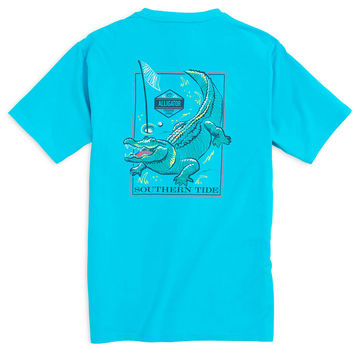 Predator Series Alligator Tee Shirt in Turquoise by Southern Tide - FINAL SALE