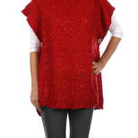 Red Turtle Neck Knit Poncho