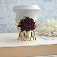 Dark Maroon Red Flower Gold Comb. Vintage Style Rose Gold Hair Comb. Rustic Rose Gold Hair Wedding Comb. Bridesmaids Gift. Gold Wedding.