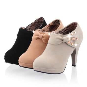 Suede High Heel Ankle Boots Platform Shoes Zipper Fashion Casual Footwear