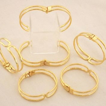 Gold Plated Bracelet Cuffs for Jewelry Making With Spring Closure 12 Pk