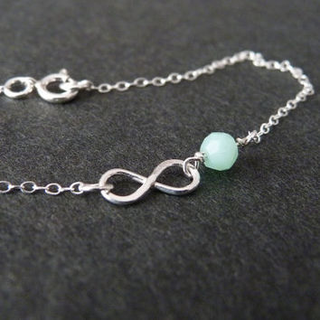 Tiny Mint Infinity Bracelet, STERLING SILVER Jewelry, Chalcedony Gemstone, Bridesmaid Gift, Love Bracelet