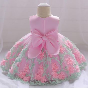 Flower Toddler Baby Girl Infant Princess Dress Baby Girl Wedding Dress Lace Tutu Kids Party Vestidos for 1 Years birthday