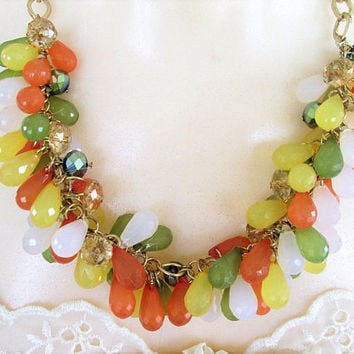 Fruit Salad Dangle Necklace Green Orange Yellow Cha Cha Teardrop  Cluster Beads Vintage Jewelry Gift