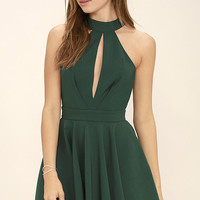 Smile Sweetly Forest Green Skater Dress