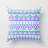 Tribal Pattern mint Green Purple Throw Pillow by tjc555   Society6