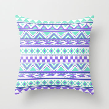 Tribal Pattern mint Green Purple Throw Pillow by tjc555 | Society6