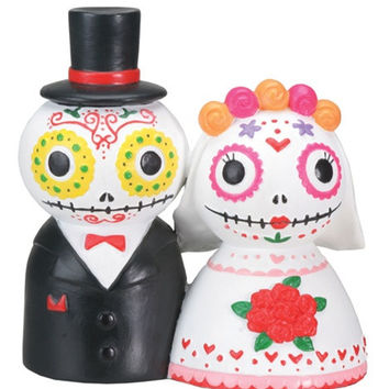 Sugar Skull Day of the Dead Wedding Cake Topper Statue - 8041
