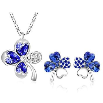 Police Clover Leaf Crystal Necklace and Earrings Set