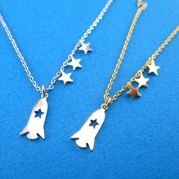 Minimal Space Travel Spaceship Spacecraft Rocket and Stars Shaped Pendant Necklace