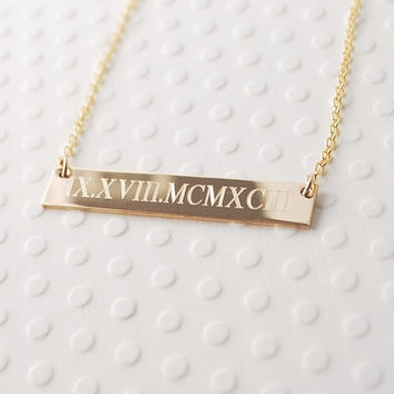 Custom Engraved 14k GOLD filled Roman Numeral horizontal bar nameplate necklace • personalized Wedding dates • Engagement • Anniversary