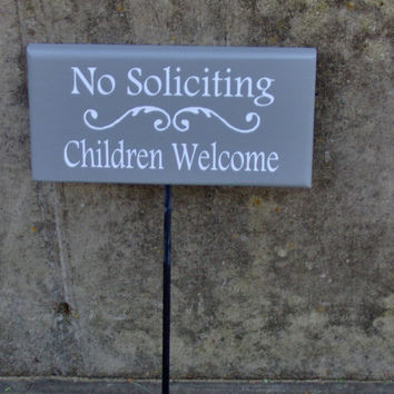 No Soliciting Children Welcme Wood Vinyl Sign Stake Rod Outdoor Garden Yard Art Porch Boy Girl Scout Kid Friendly Neighbor No Stranger Sign