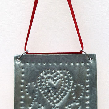 Primitive Tin Punch Ornament  Rustic Hearts on Red by SeventhChild