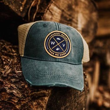 Distressed WV Patch Trucker Hat