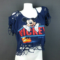 Shredded crop top/ Vintage 90s Mickey Mouse crop top/ Destroyed T shirt/ Vintage cropped tee/ 90s Disney/ Vintage plus size crop top XL