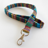 Woven Lanyard / Boho Keychain / Indian Blanket Inspired / Bohemian / Key Lanyard / Turquoise / Woven Stripe Fabric / ID Badge Holder / Green