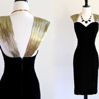 80s Black Velvet Pleated Gold Lame Rhinestone Trim Sweetheart Cocktail Glam Wiggle Party Bodycon Bandage Dress . ML . H