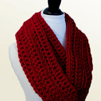 Red Infinity Scarf Cowl Extra Long Knit Crochet Wool Chunky Dark Red Infiniti Loop Scarf Circle Scarf
