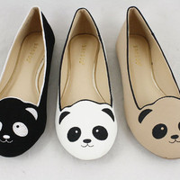 PANDA SHOES Slip on Ballet Flats with Animal Faces Panda Bear Flats