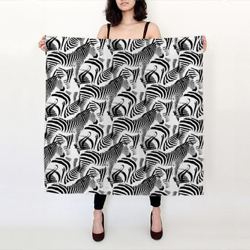 "Black & White Zebra Stripes, Square Scarf (36"" x 36""), Handmade withChoice of Fabric, linen scarf, nursing scarf, head scarf, silk scarf,"