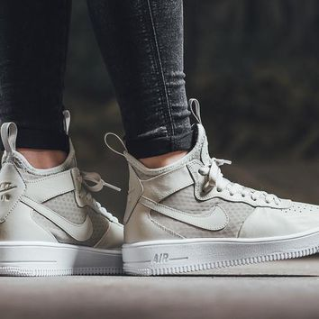 LMFON Nike Air Force 1 Ultraforce Mid 864025 Grey For Women Men Running Sport Casual Shoes Sneakers