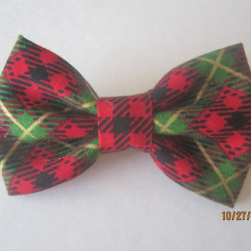 Christmas bow tie, Red green bow tie, Men's red green bow tie, Boy's red christmas bow tie, Extra snap bow tie.