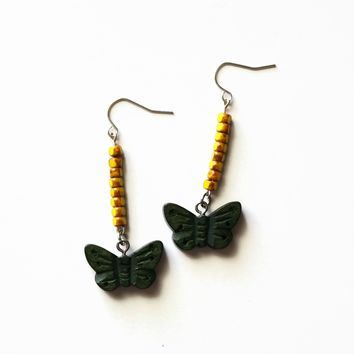 Green Butterfly Dangle Earrings With Yellow Accent Beads