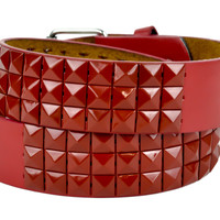 All Blood Red 3 Row Pyramid Stud Belt Genuine Leather