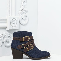 Denim Suedette Double Buckle Booties