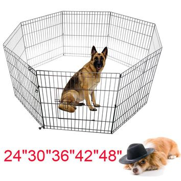 "Wire Fence Pet Dog Cat Folded Exercise Yard 8 Panel 24""-48"" Tall"