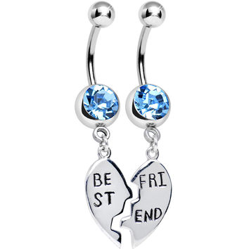 Aqua Gem Shared Heart Best Friend Heart Dangle Belly Ring Set