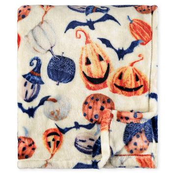 Painted Pumpkin Plush Throw