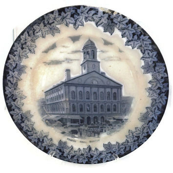 Antique Faneuil Hall Boston Mass Souvenir Plate -  English Staffordshire Flow Blue, Massachusetts