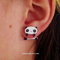 Tare Panda clinging earrings Two part front and back kawaii panda earrings