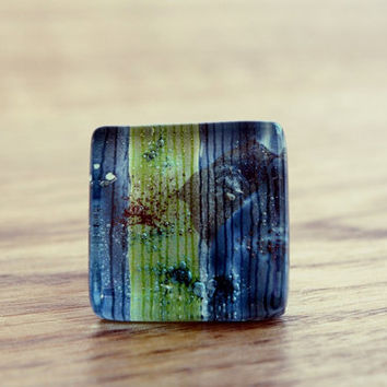 Turquoise blue green ring - Glass silver ring - Fused glass jewelry - Square ring - Aqua blue and lime green ring - Summer ring - Adjustable